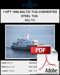 110ft 1990 Baltic Tug Converted Steel Tug - BALTIC - Buy and